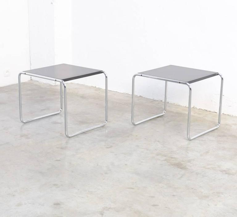 Italian Pair Of Laccio Side Tables By Marcel Breuer For Gavina