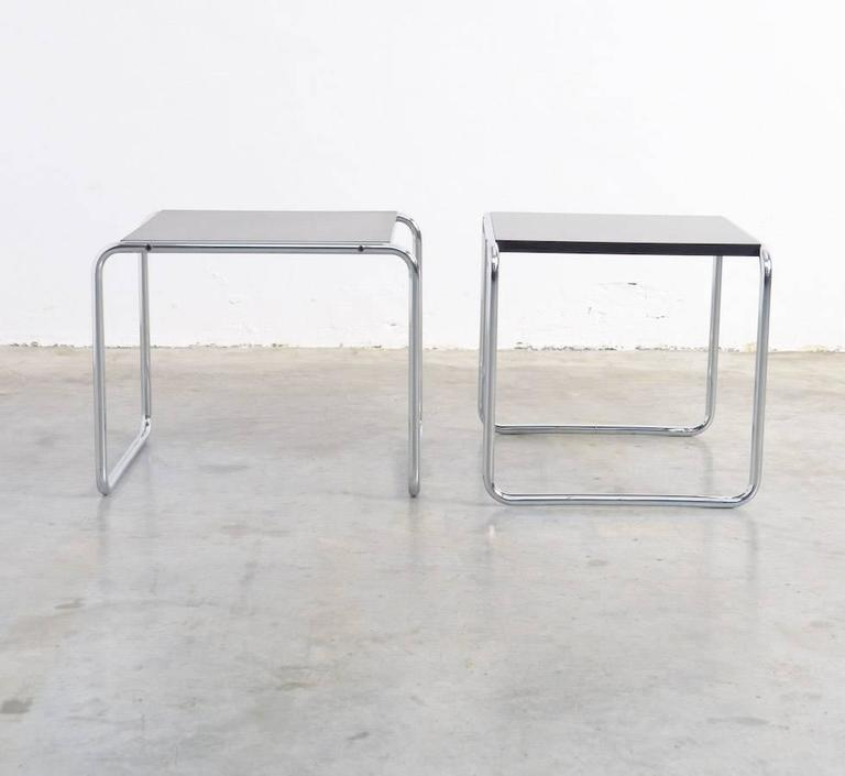 Early 20th Century Pair Of Laccio Side Tables By Marcel Breuer For Gavina  For Sale
