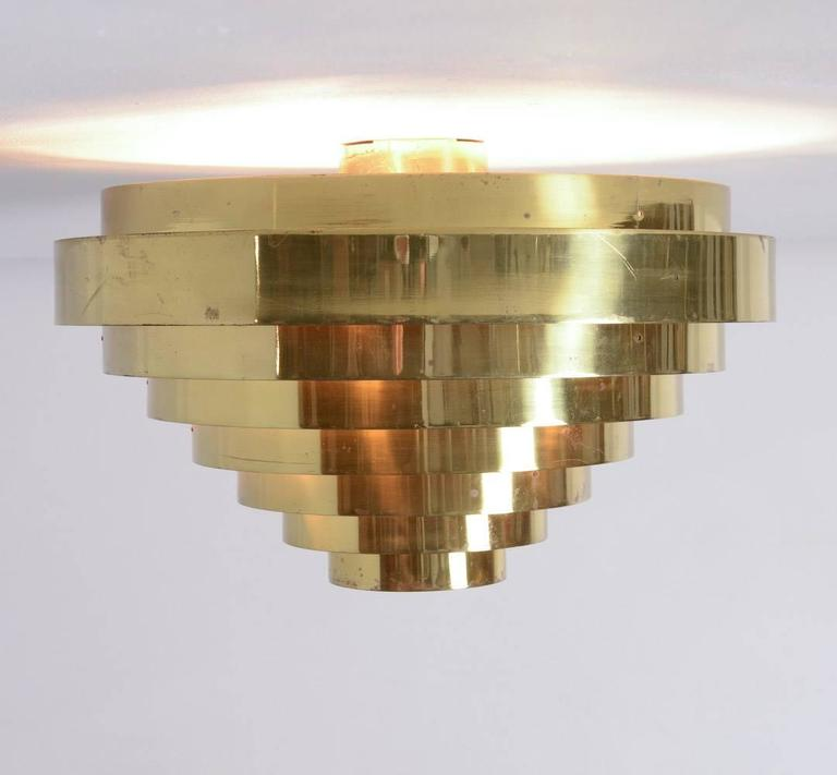 Mid-Century Modern Unique Brass Ceiling Lamp by Jules Wabbes, 1969 For Sale