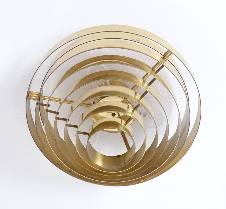 Belgian Unique Brass Ceiling Lamp by Jules Wabbes, 1969 For Sale