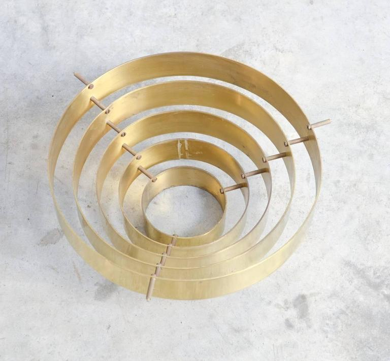 Unique Brass Ceiling Lamp by Jules Wabbes, 1969 For Sale 1
