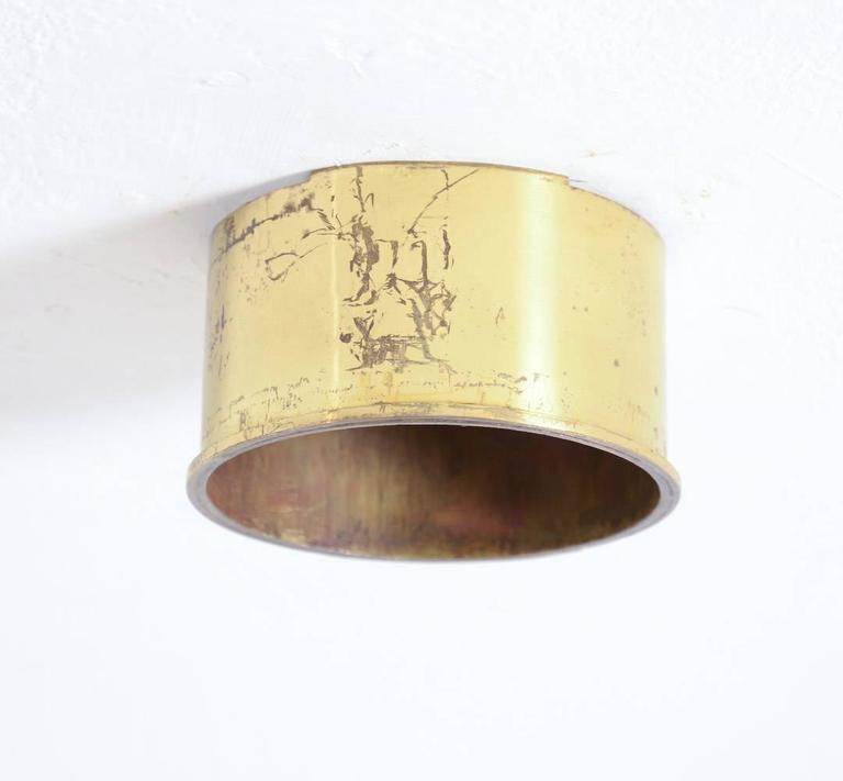 Unique Brass Ceiling Lamp by Jules Wabbes, 1969 For Sale 3