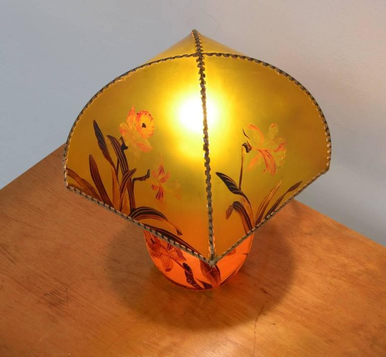 Art Nouveau Hand-Painted Table Lamp by Victor De Winner 3