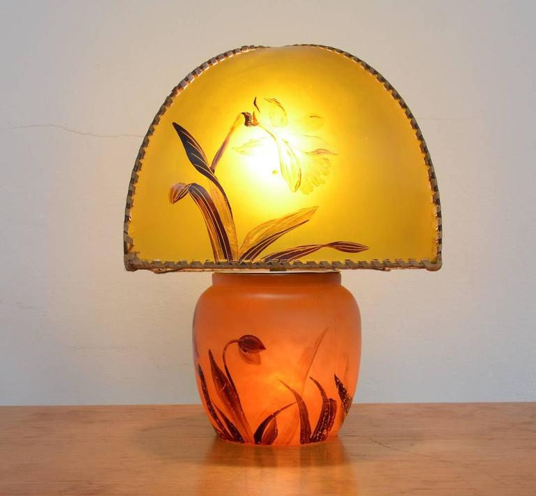 Art Nouveau Hand-Painted Table Lamp by Victor De Winner 9