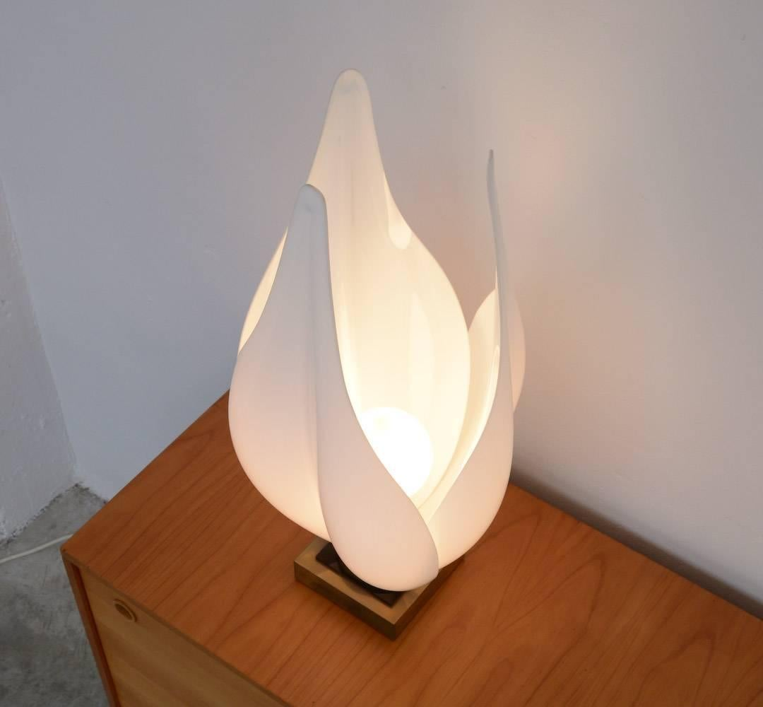 Attractive Modern Decorative Tulip Table Lamp By Rougier For Sale