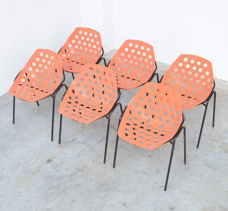 Set of Six Coquillage Stacking Chairs by P. Guariche for Meurop 2