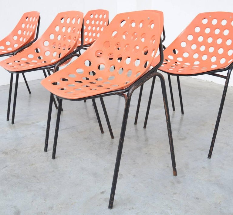 Set of Six Coquillage Stacking Chairs by P. Guariche for Meurop 4