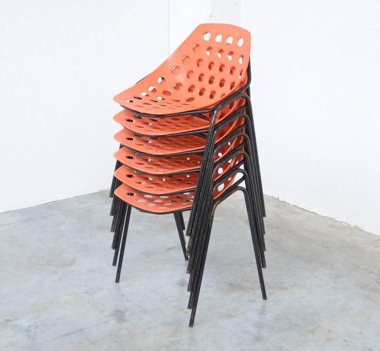 Set of Six Coquillage Stacking Chairs by P. Guariche for Meurop For Sale 4