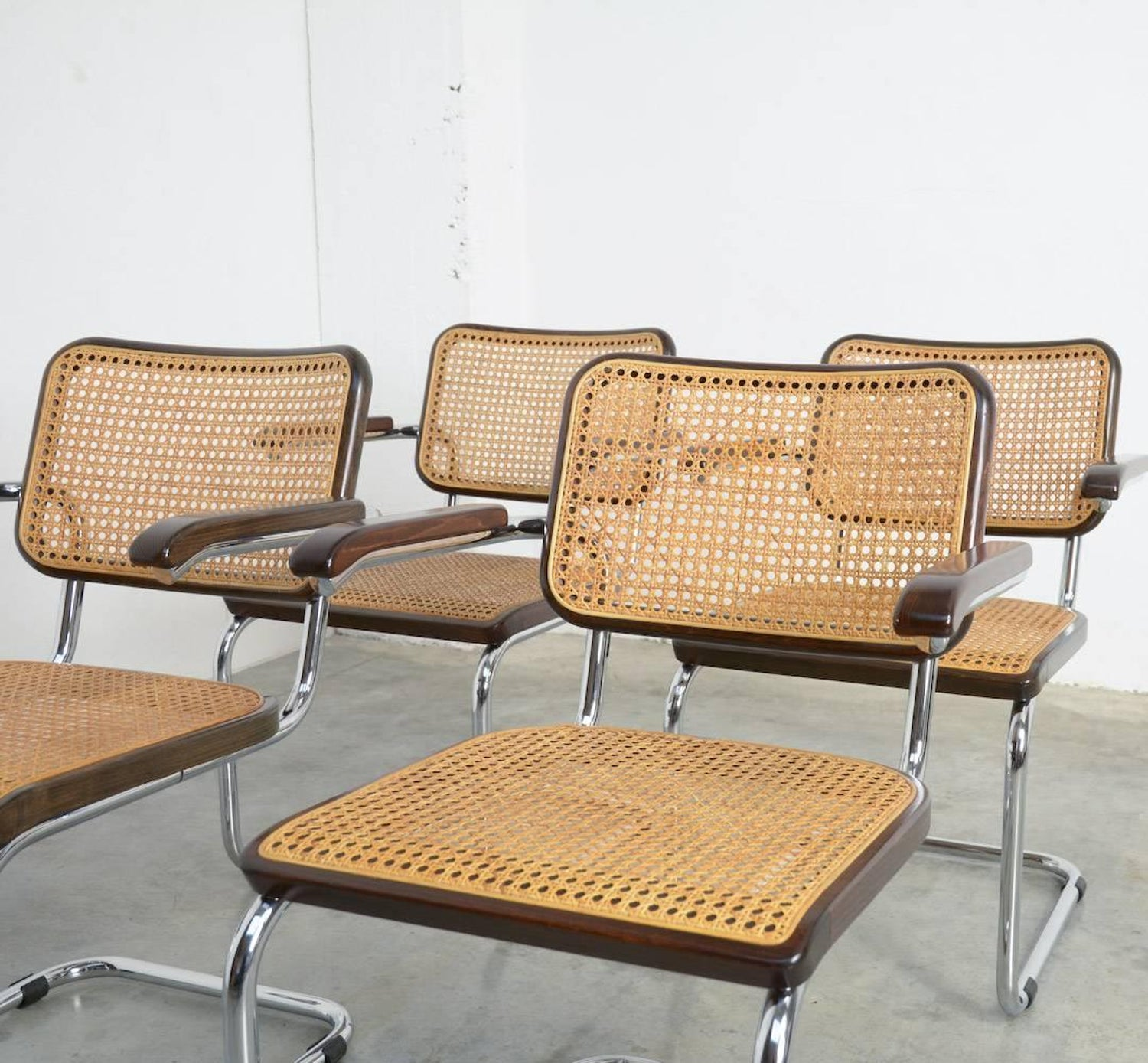 Set Of Four Cesca B64 Dining Chairs By Marcel Breuer