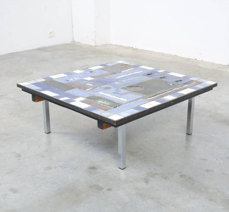 Belgian Square Blue Ceramic Coffee Table By Pia Manu For