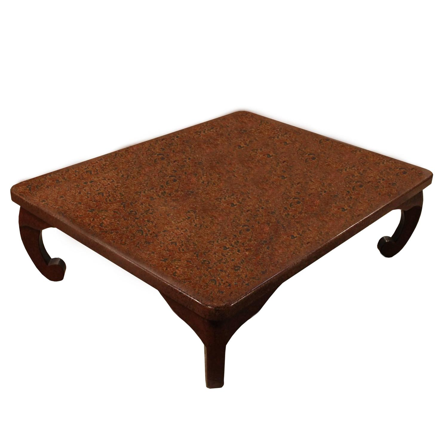 Japanese Wakasa Persimmon Lacquer Square Low Table