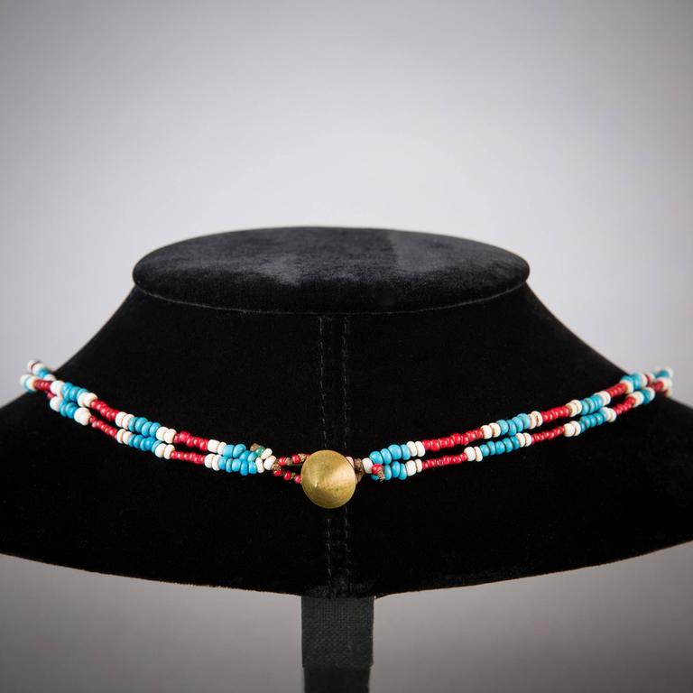 South African Early 20th Century Tribal Zulu Beaded Necklace For Sale