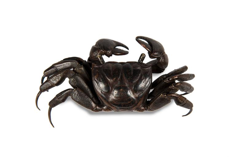Meiji Japanese Articulated Bronze Crab Jizai In Excellent Condition For Sale In Paris, FR