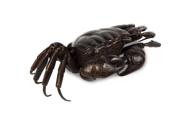 Meiji Japanese Articulated Bronze Crab Jizai For Sale 1