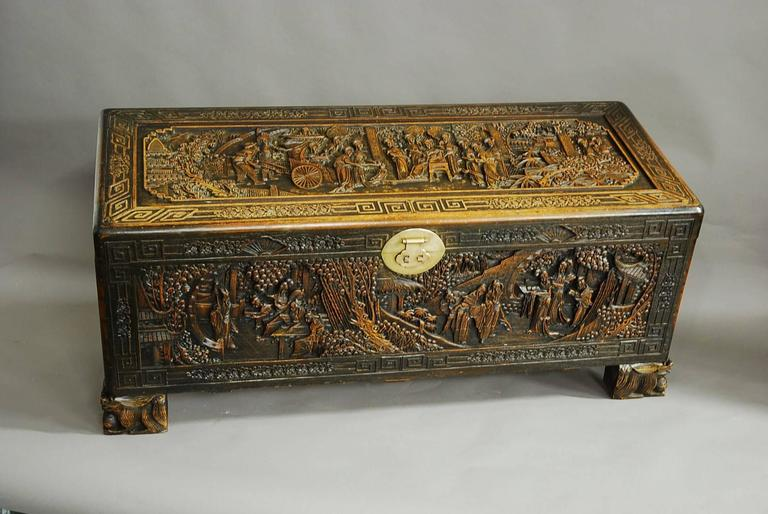 Large superbly carved chinese camphor wood chest at 1stdibs for Oriental wood carved furniture