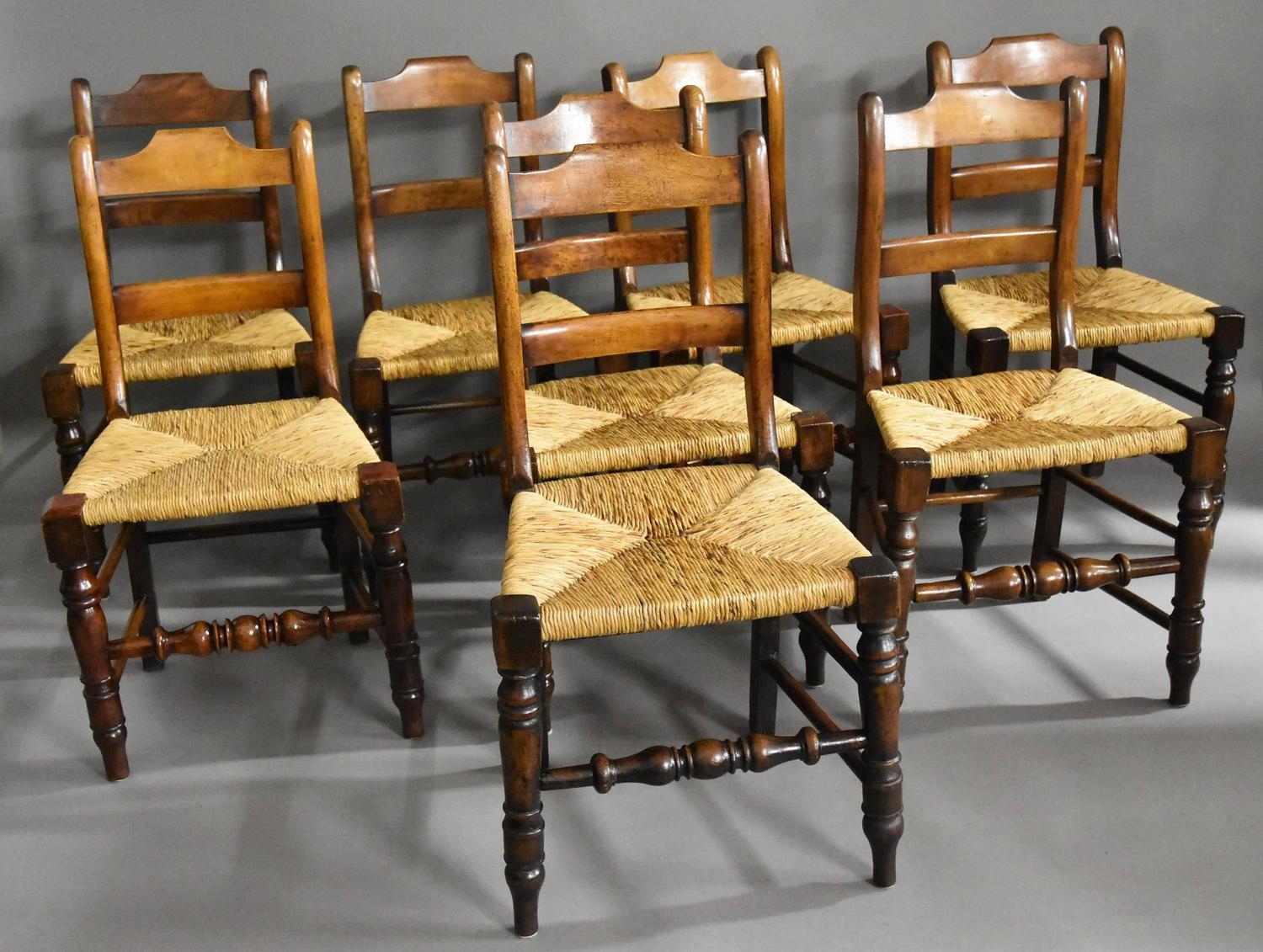 Mid Late 19th Century Set Of Eight Alder Dining Chairs Of
