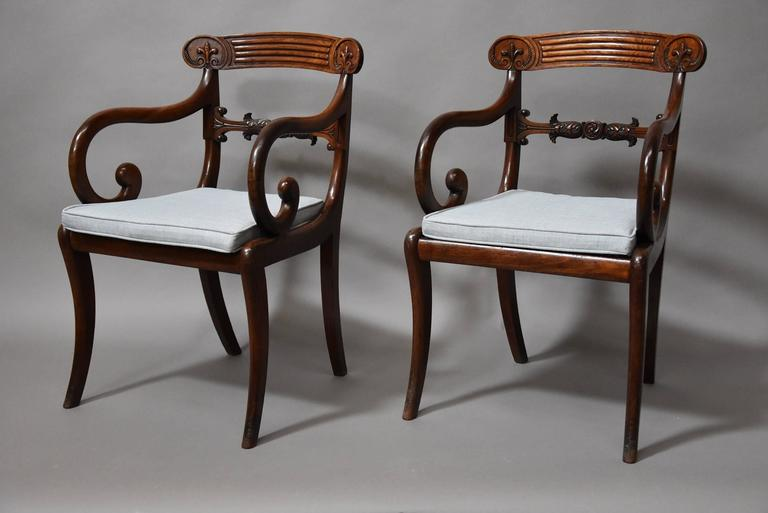 English Superb Set of Eight Regency Mahogany Dining Chairs of Superb Patina For Sale