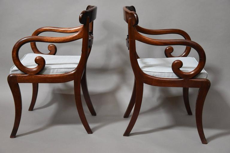 19th Century Superb Set of Eight Regency Mahogany Dining Chairs of Superb Patina For Sale