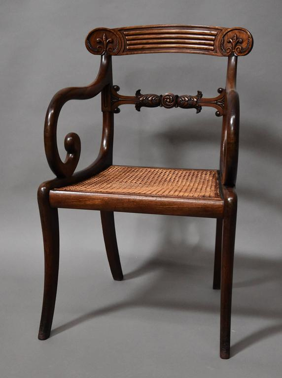Cane Superb Set of Eight Regency Mahogany Dining Chairs of Superb Patina For Sale