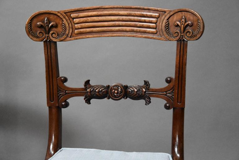 Superb Set of Eight Regency Mahogany Dining Chairs of Superb Patina For Sale 1