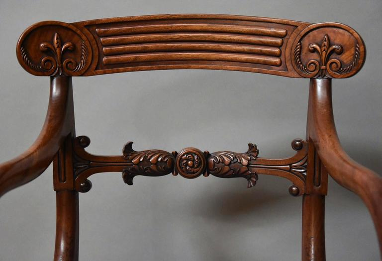 Superb Set of Eight Regency Mahogany Dining Chairs of Superb Patina For Sale 2