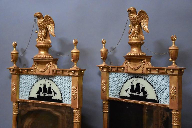 English Superb Pair of Carved Giltwood Pier Mirrors in the Regency Style For Sale