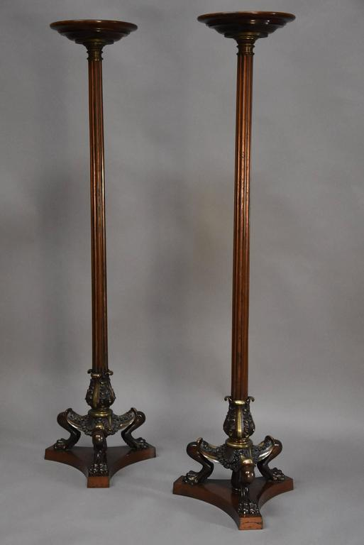 English Pair of Regency Style Bronze and Mahogany Torcheres in the Egyptian Style For Sale