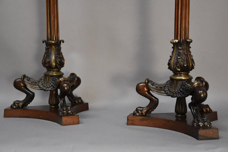 19th Century Pair of Regency Style Bronze and Mahogany Torcheres in the Egyptian Style For Sale