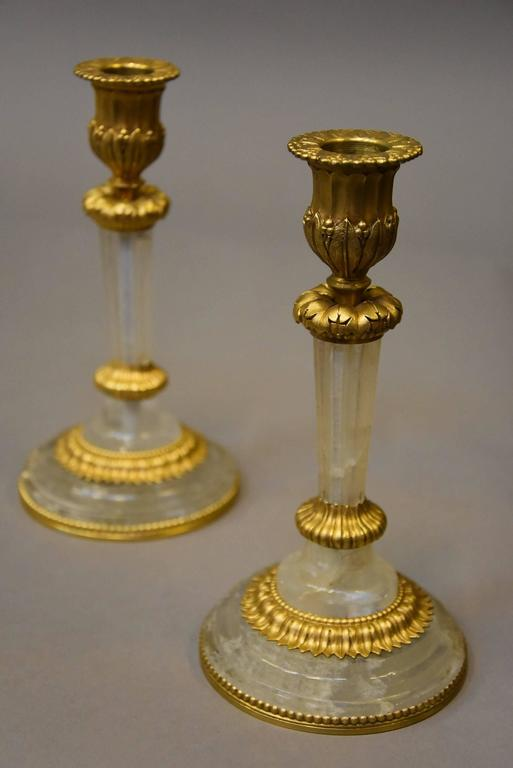 pair of elegant early 20th century rock crystal and ormolu With kitchen cabinets lowes with rock crystal candle holder