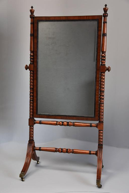 English Early 19th Century Fine QualityRegency Mahogany Cheval Mirror For Sale