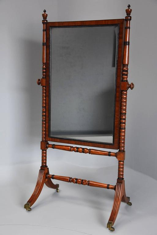 Early 19th Century Fine QualityRegency Mahogany Cheval Mirror For Sale 1
