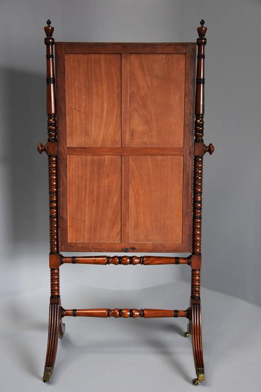 Early 19th Century Fine QualityRegency Mahogany Cheval Mirror For Sale 6