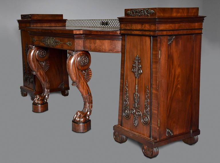 Superb Quality And Rare Regency Mahogany Sideboard In The