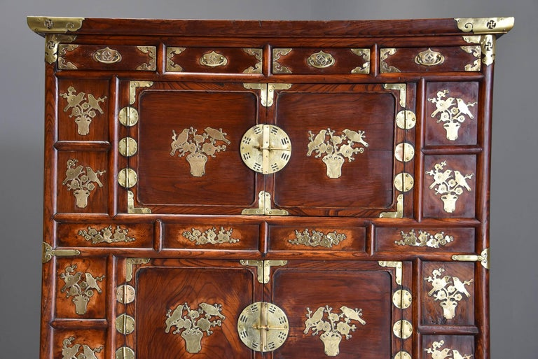 19th Century Korean Elm Cabinet With Brass Decoration Of