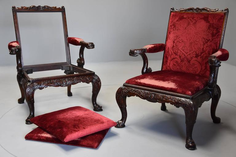 Pair of Late 19th Century George II Style Mahogany Gainsborough Armchairs For Sale 4