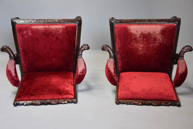 Pair of Late 19th Century George II Style Mahogany Gainsborough Armchairs For Sale 5