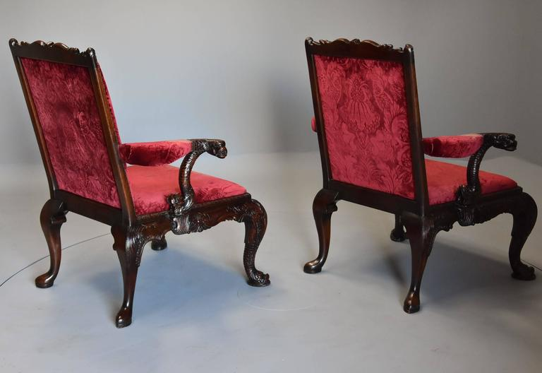 Pair of Late 19th Century George II Style Mahogany Gainsborough Armchairs For Sale 6