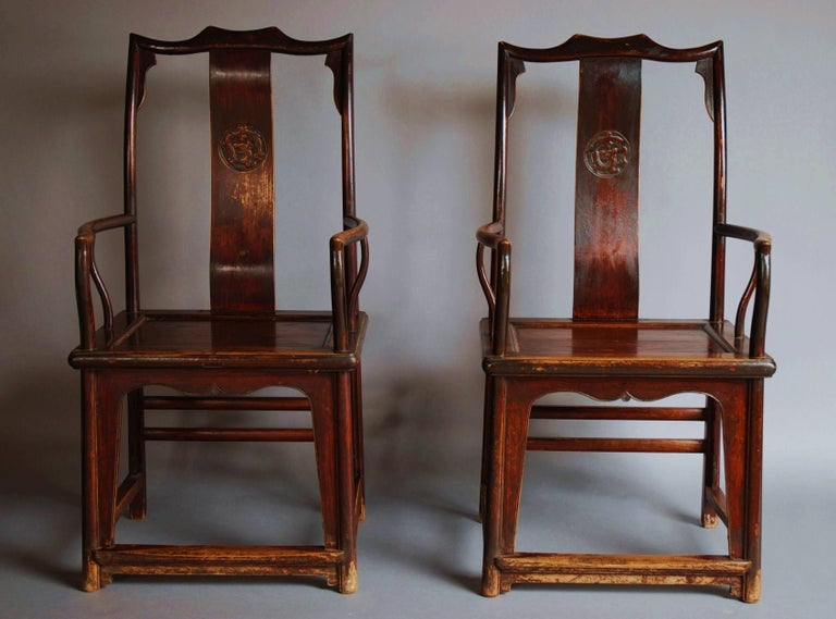 Pair of Late 19th Century Chinese Yoke Back Elm Armchairs of Good Patina In Good Condition For Sale In Suffolk, GB