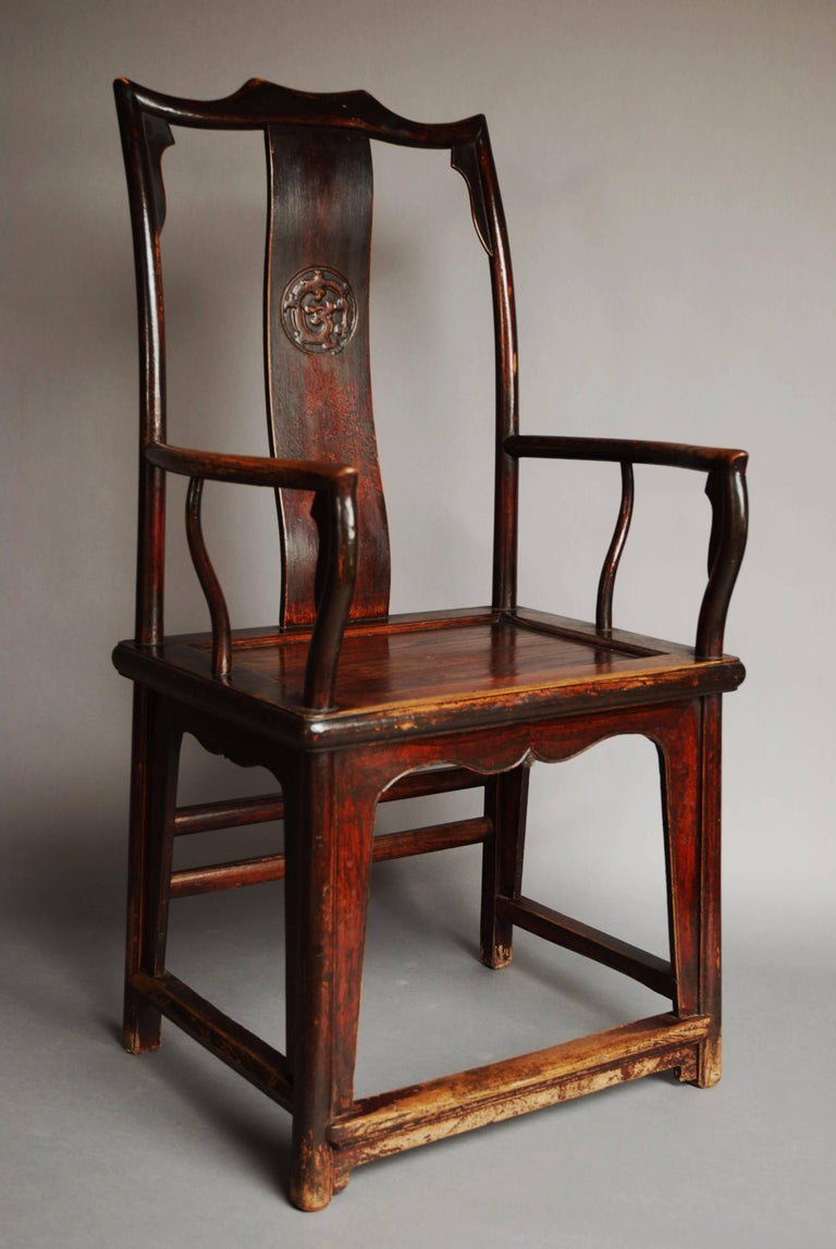 Pair of Late 19th Century Chinese Yoke Back Elm Armchairs of Good Patina For Sale 1