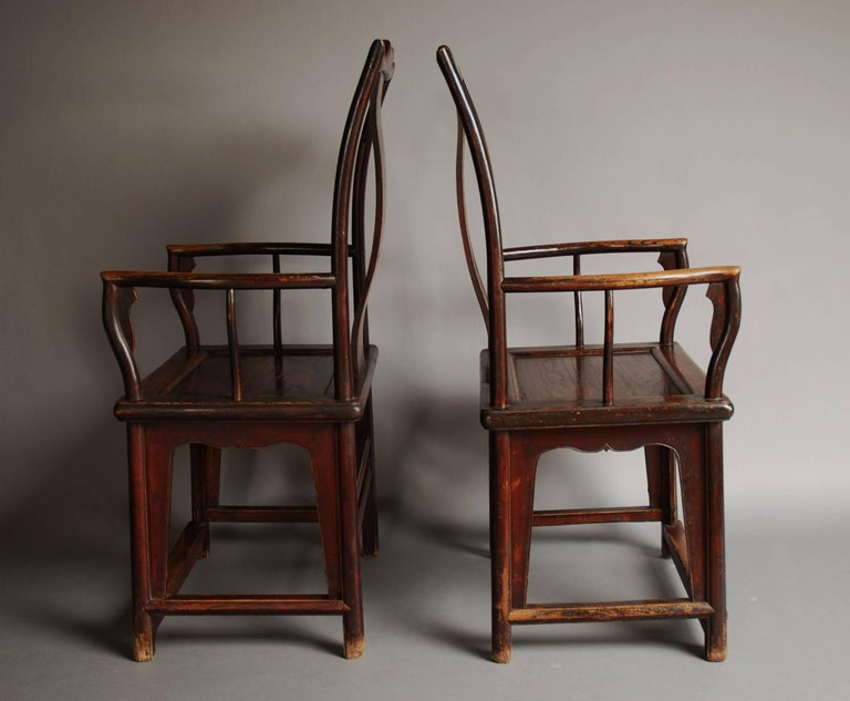 Pair of Late 19th Century Chinese Yoke Back Elm Armchairs of Good Patina For Sale 5