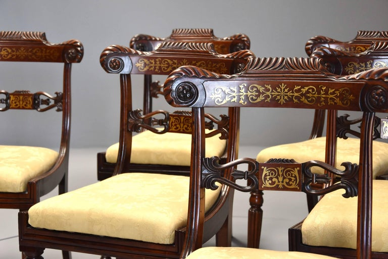 English Fine Quality Set of Six Regency Rosewood Dining Chairs with Brass Inlay For Sale