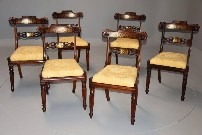 Fine Quality Set of Six Regency Rosewood Dining Chairs with Brass Inlay In Good Condition For Sale In Suffolk, GB