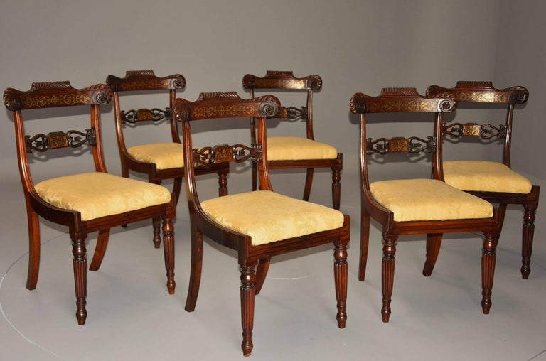 19th Century Fine Quality Set of Six Regency Rosewood Dining Chairs with Brass Inlay For Sale