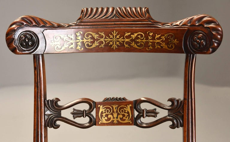 Fine Quality Set of Six Regency Rosewood Dining Chairs with Brass Inlay For Sale 1