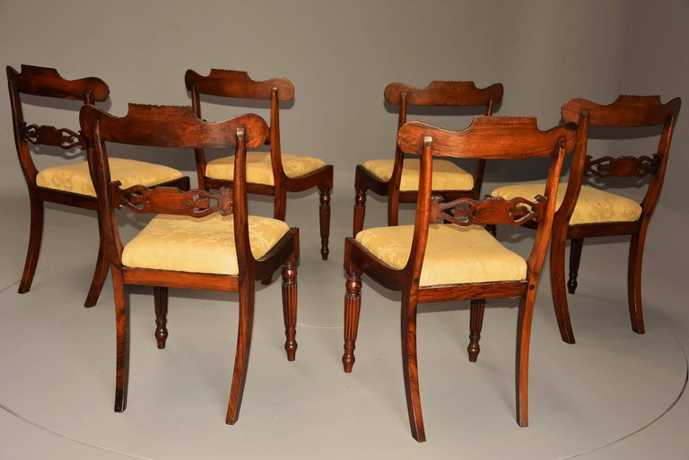 Fine Quality Set of Six Regency Rosewood Dining Chairs with Brass Inlay For Sale 5