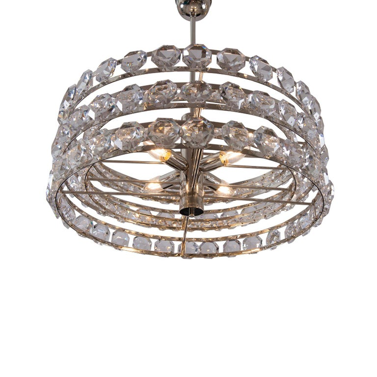Mid-Century Modern Mid Century Modern 1960s Crystal Chandelier by Woka Lamps, Vienna For Sale