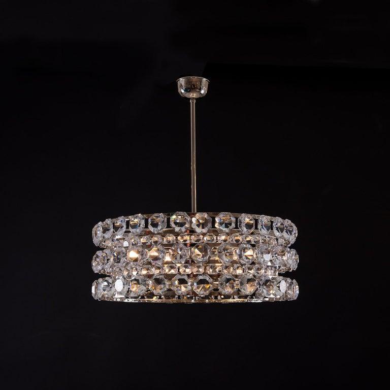 Austrian Mid Century Modern 1960s Crystal Chandelier by Woka Lamps, Vienna For Sale