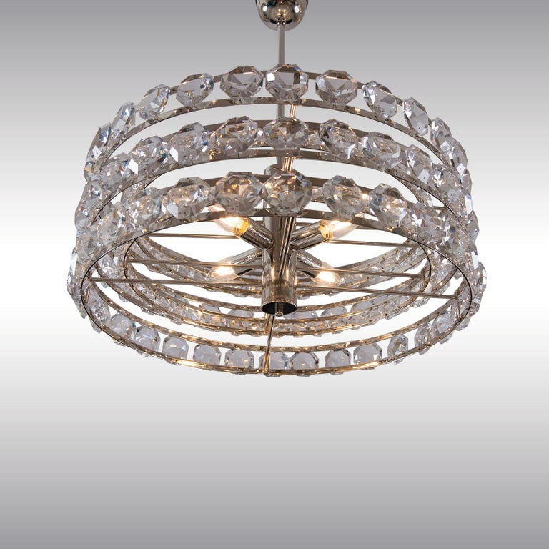 Hand-Crafted Mid Century Modern 1960s Crystal Chandelier by Woka Lamps, Vienna For Sale