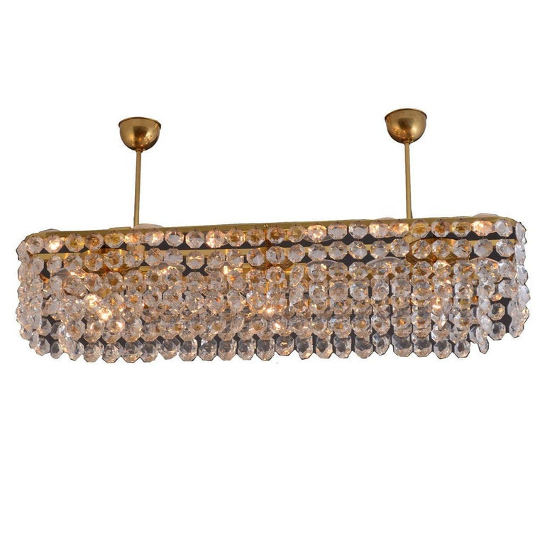 Large square Mid-Century Modern Crystal Chandelier 15 flames - Re Edition For Sale