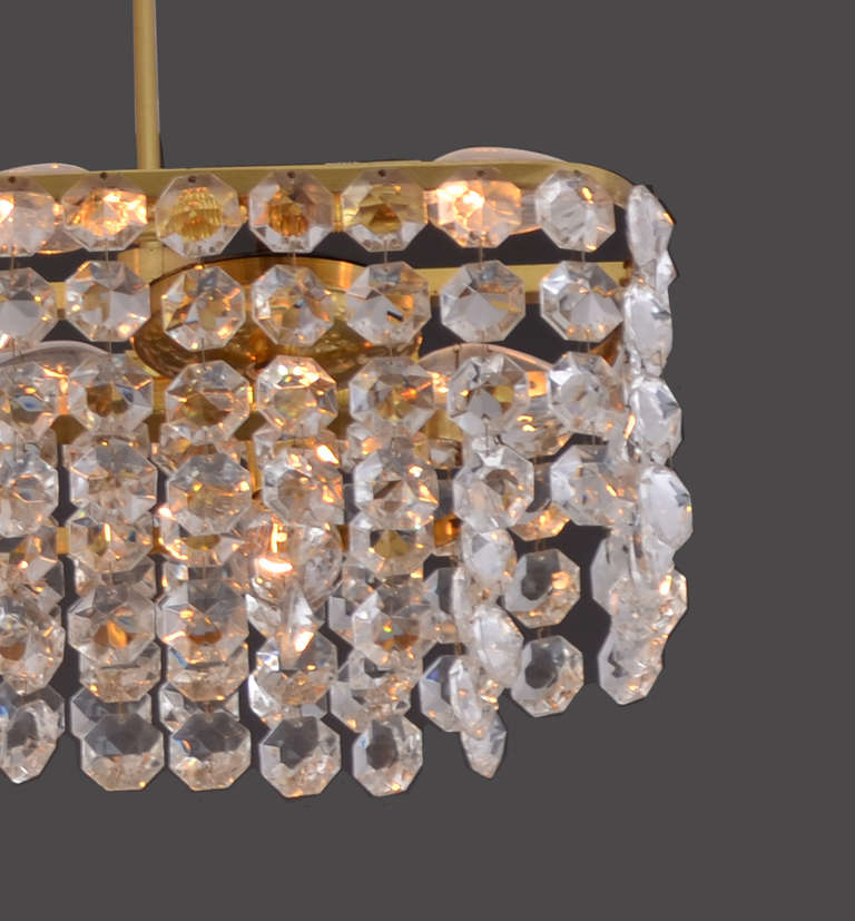 Austrian Large square Mid-Century Modern Crystal Chandelier 15 flames - Re Edition For Sale